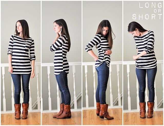 How to shorten a top without cutting or hemming | t-sirt | Pinterest ...