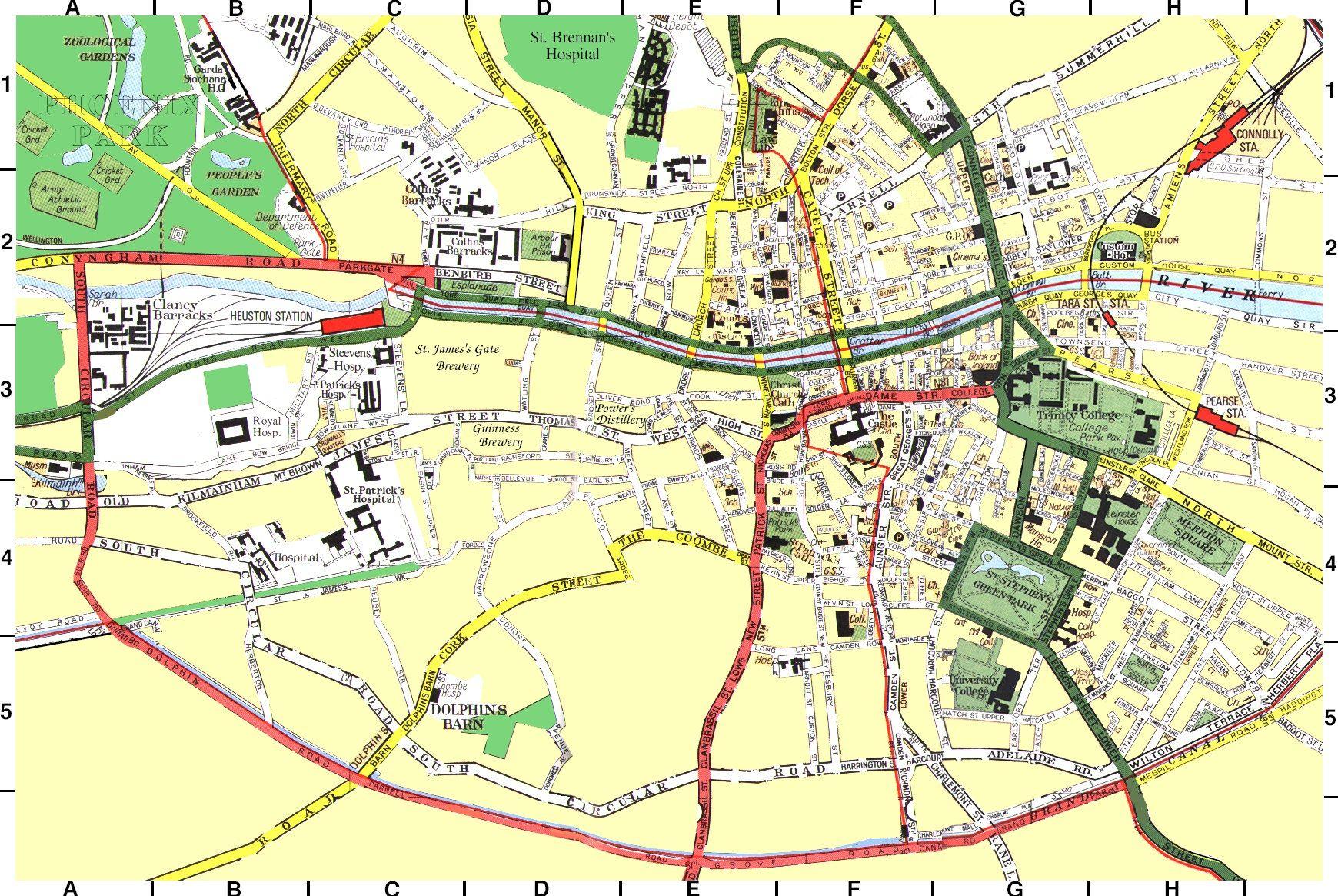 Dublin City Map Dublin Ireland • mappery Dublin map