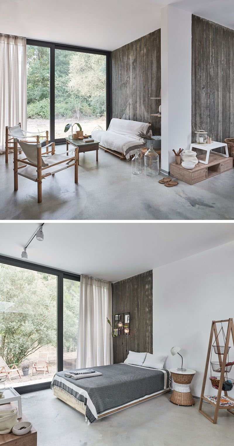 Pin Architects Have Designed A Home Of Concrete And Glass In Turkey New Modern House Home Decor Bedroom Sliding Glass Door