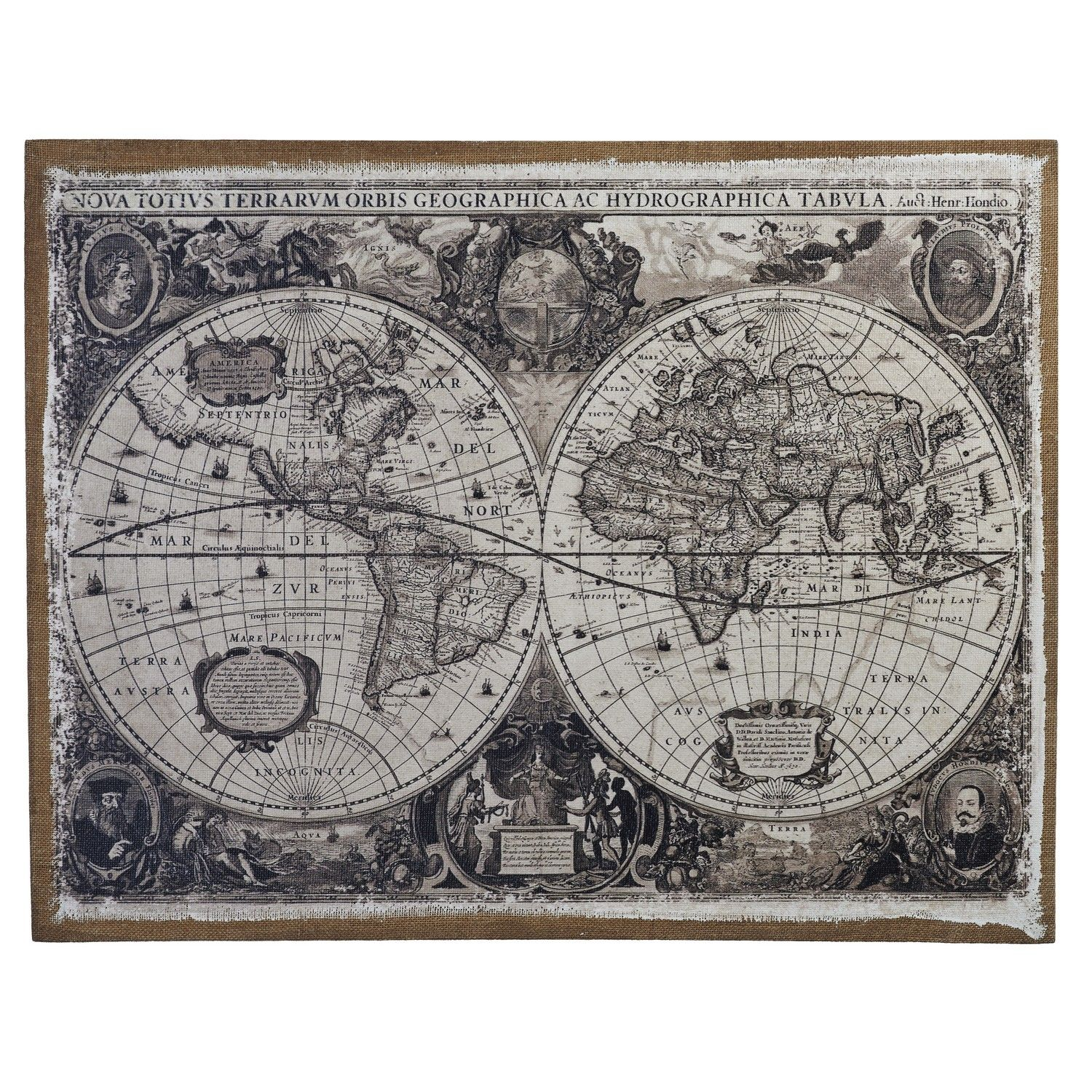 The linen world map wall art is a great statement piece for your the linen world map wall art is a great statement piece for your home this black and white world map is displayed as two circles with intricate detail gumiabroncs Choice Image