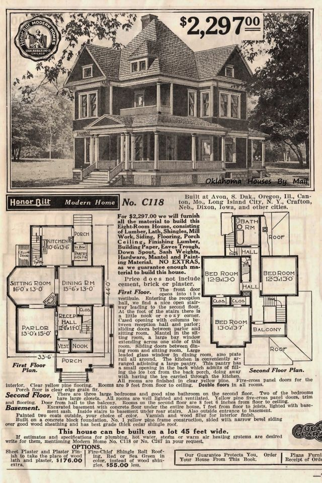 Sears Modern Homes 118 In Cherokee Oklahoma Victorian House Plans House Blueprints Vintage House Plans