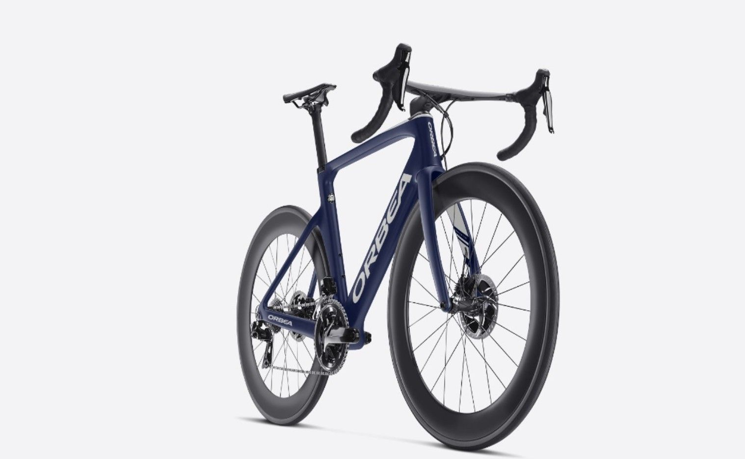 Orbea Orca Aero Omr19 Carbon Disc Designed With Myo Matte Navy Blue With Blue And White Accents Total View From Front Local Bike Shop Bike Shop Orbea