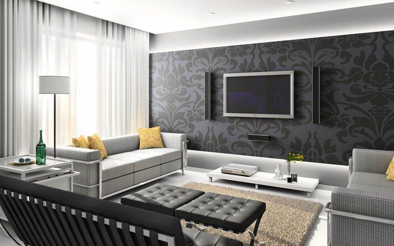 Mesmerize urban living room decorating ideas elegant urban living room design with black damask wallpaper