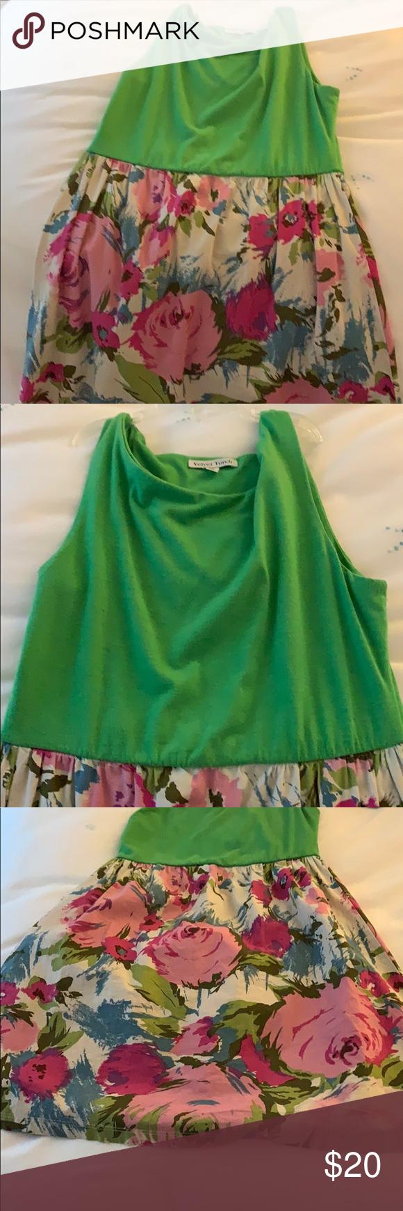 Cute short sundress. Short summery dress. Velvet torch green T-shirt material top and cotton bottom flowery skirt. Velvet Torch Dresses Mini #shortsundress