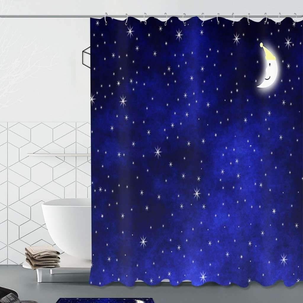 Bath Moon Stars Night Sky Print Shower Curtain Tychome Printed