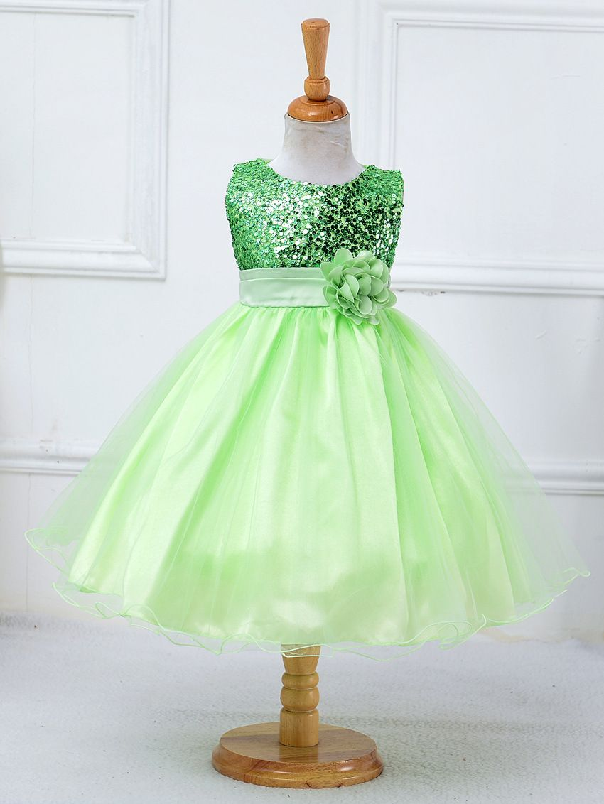 6c9ca6987 Flower girl dresses sequined with belt children christmas costumes ...