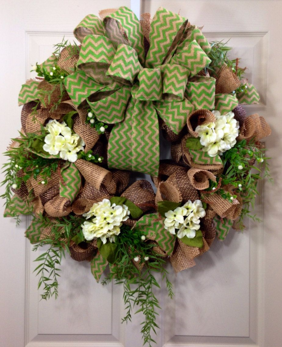 Green Burlap Wreath by WilliamsFloral on Etsy Green