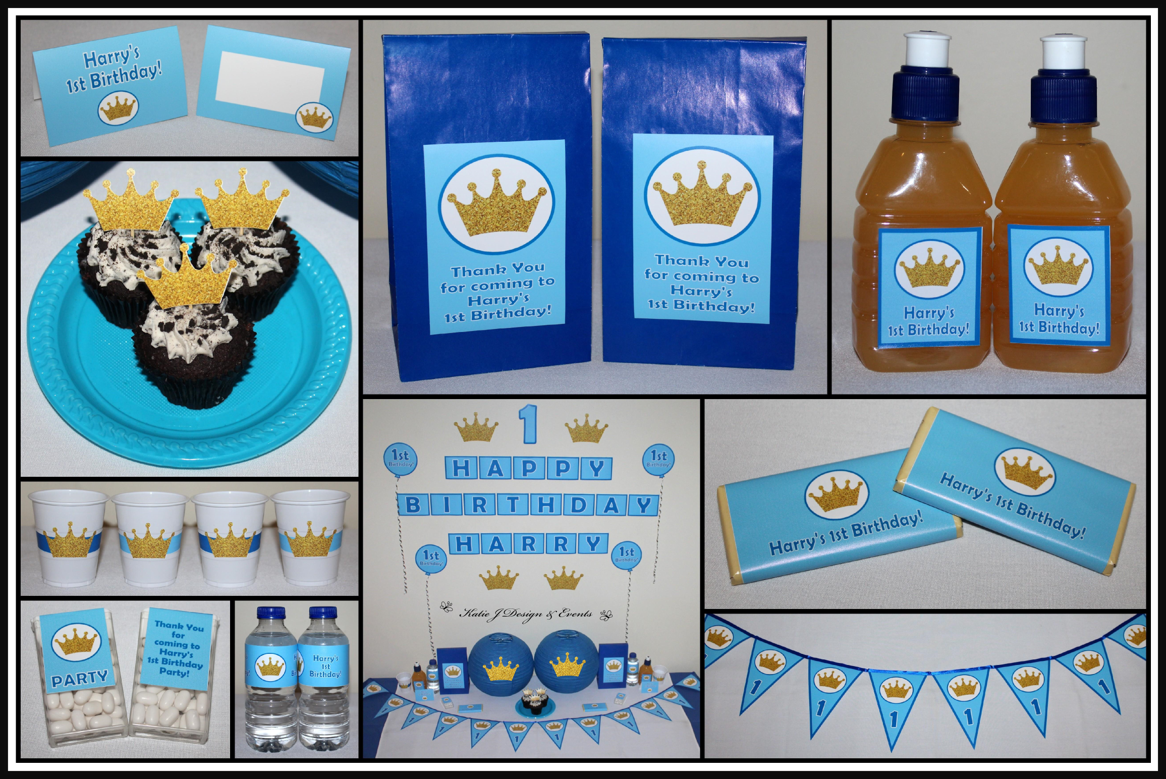Prince Crowns Royal Blue & Gold Personalised Birthday Party Decorations