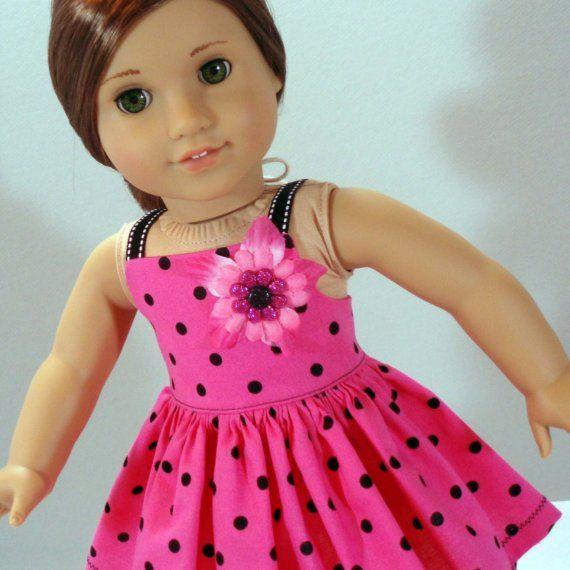 American Girl Dress Black and Pink Punk a Dot