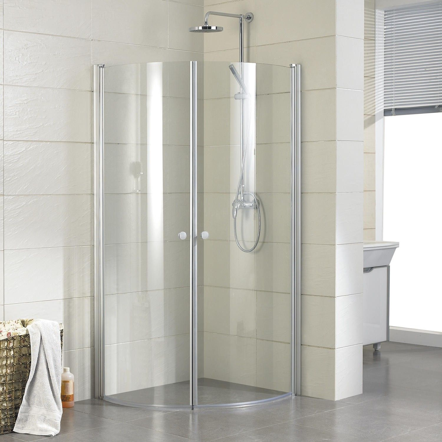 34 X 34 Halvor Round Corner Shower Enclosure Brushed Aluminum