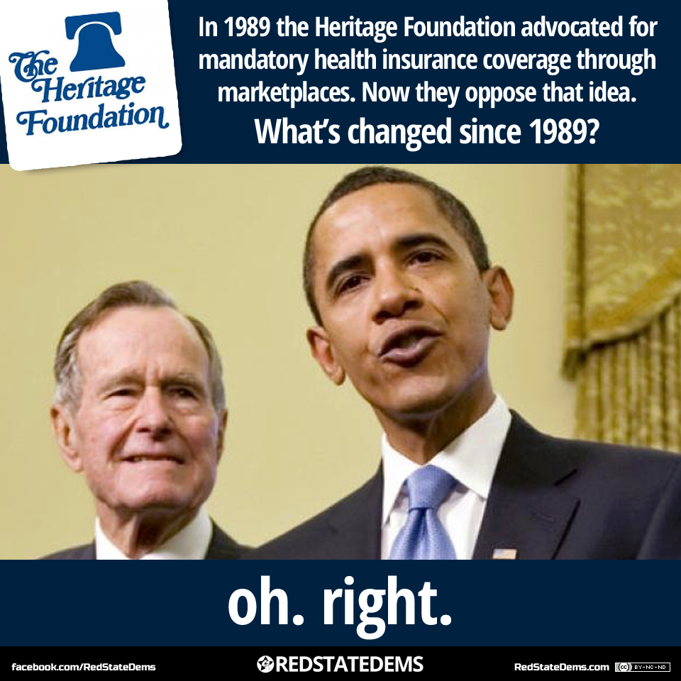 What if president Barack Obama was white as George H. W. Bush?  Meme by Red State Dems