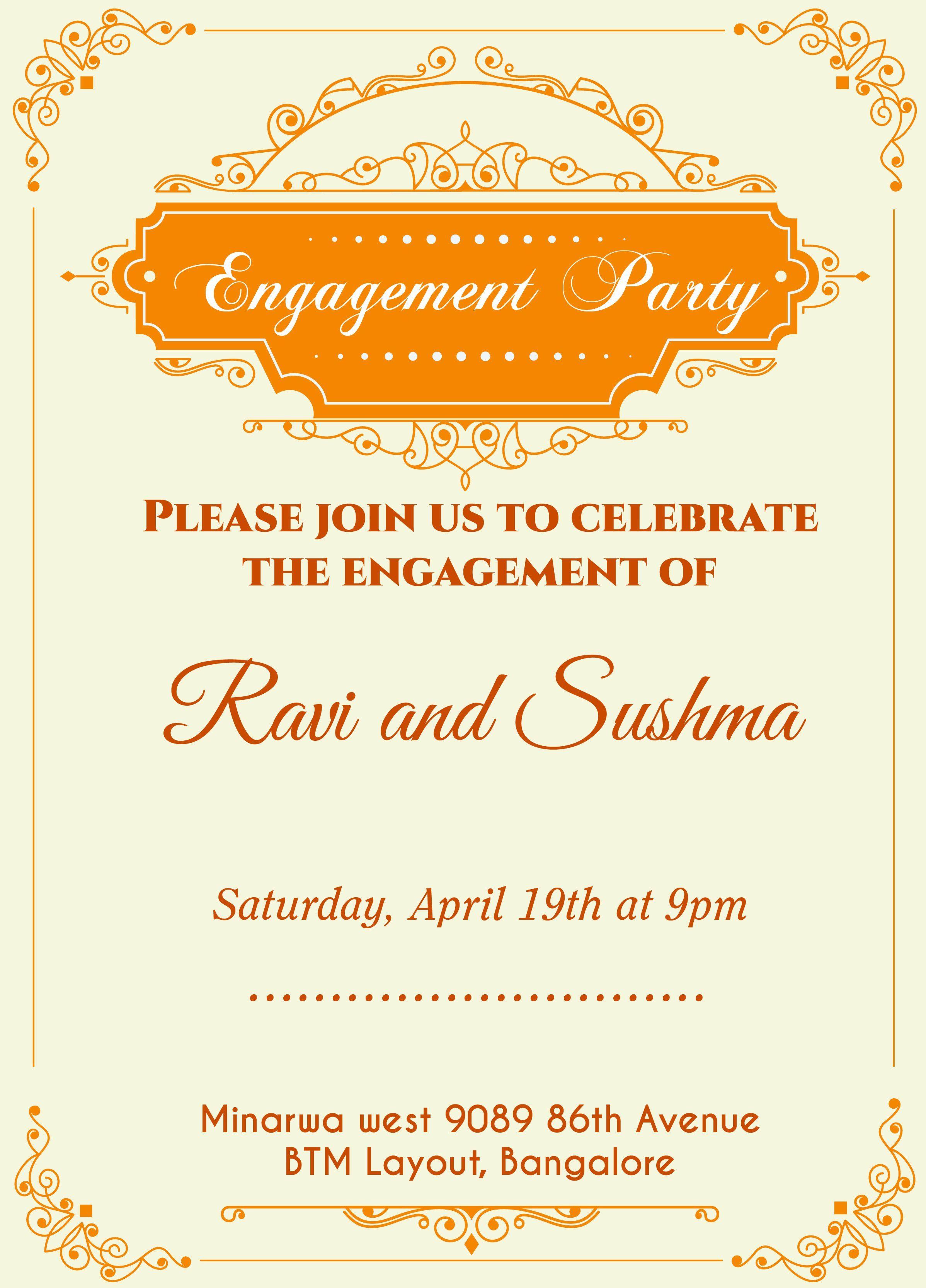 Einladungskarte Als Whatsapp Engagement Invitation Template