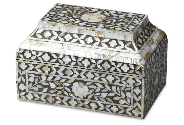 "Black And White Decorative Boxes 12"" Darragh Storage Box Blackwhite  Jewellery And Jewellery"
