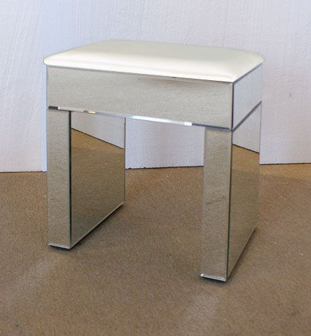 Venetian Mirrored Dressing Table Stool White Top
