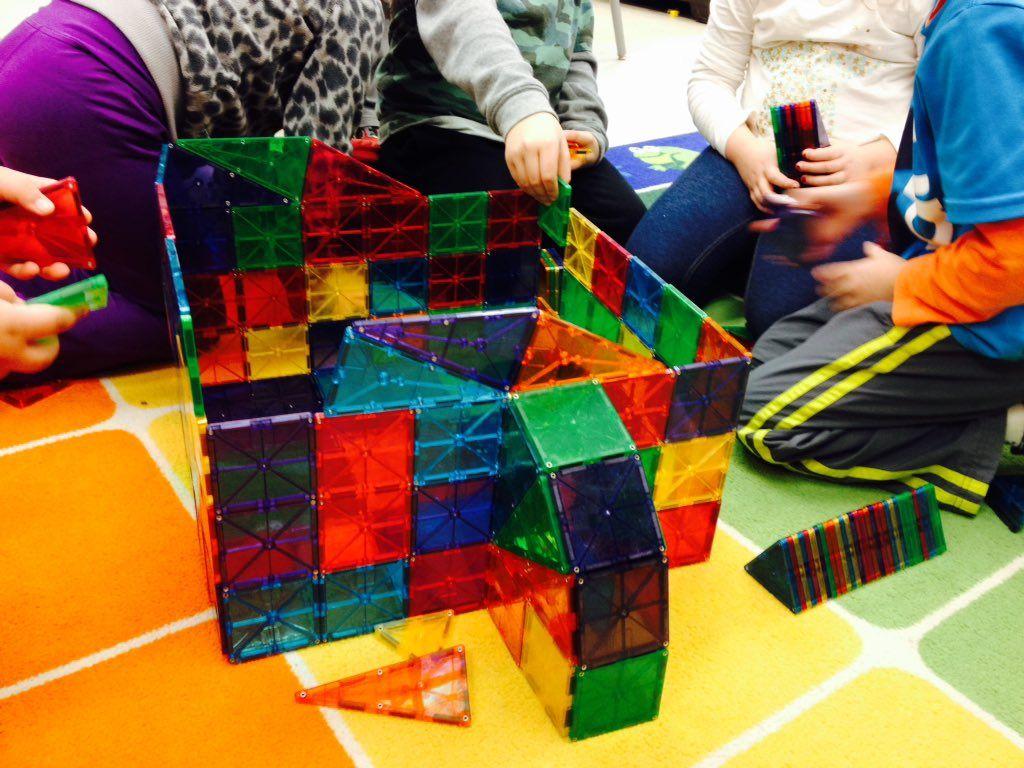 Magna-Tects build with Magna-Tiles in math centres!