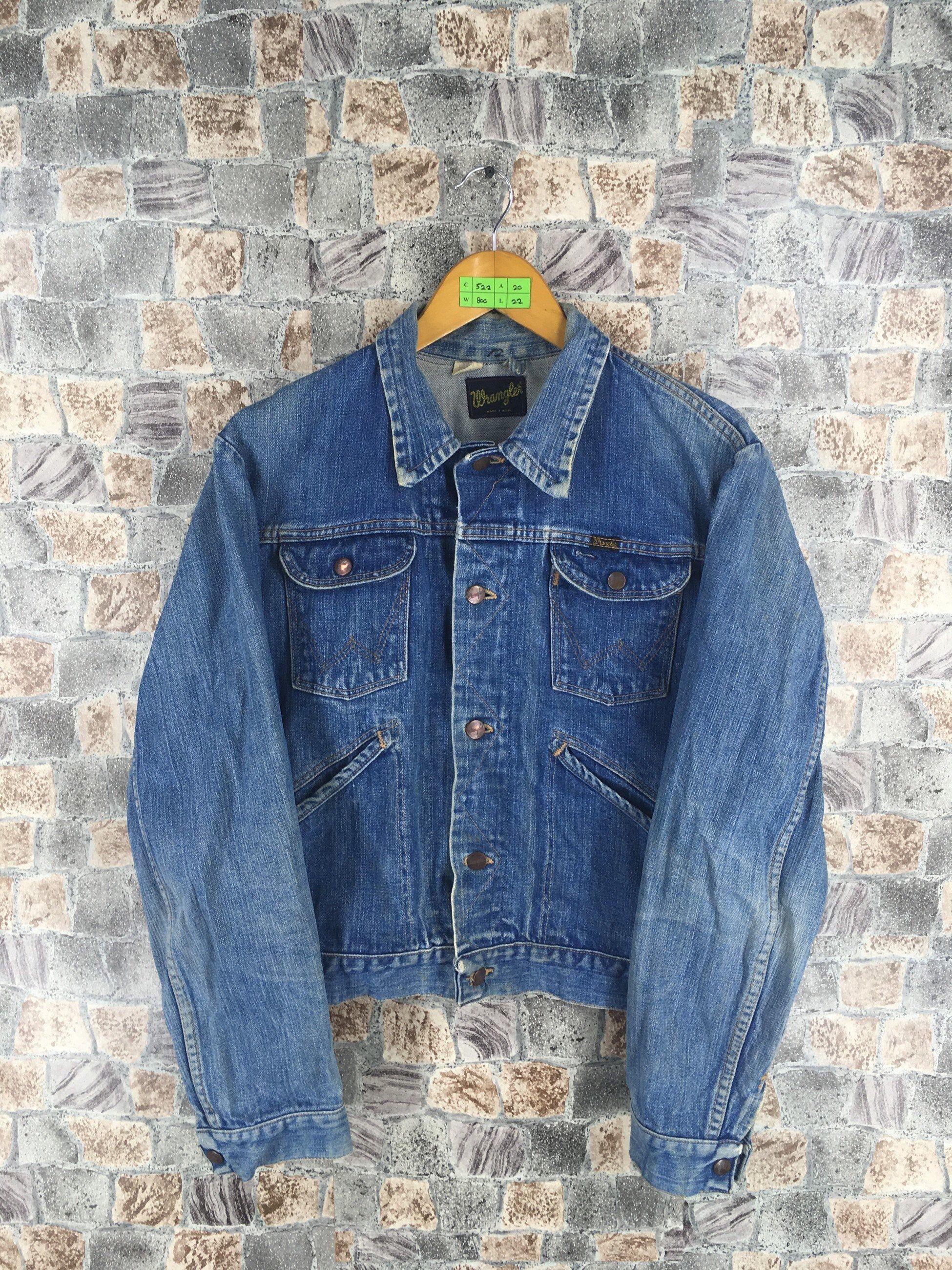 Vintage 80s Wrangler Denim Jeans Jacket Medium Wrangler Etsy Vintage Levis Denim Jacket Denim Jean Jacket Denim Jacket Outfit [ 2600 x 1950 Pixel ]