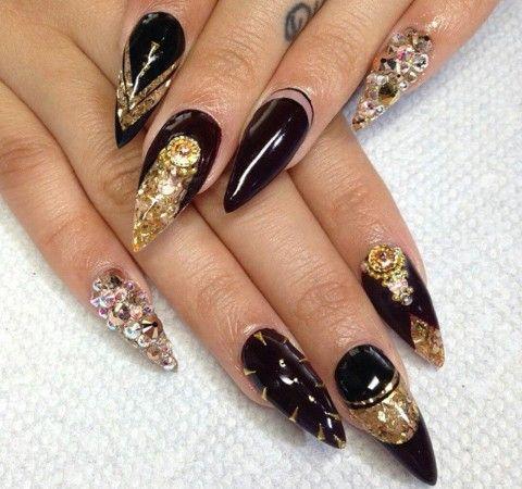 Black, Gold glitter, \u0026 Rhinestones