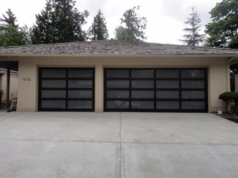 frameless drakes door grey translucent pic garage aluminium products doors