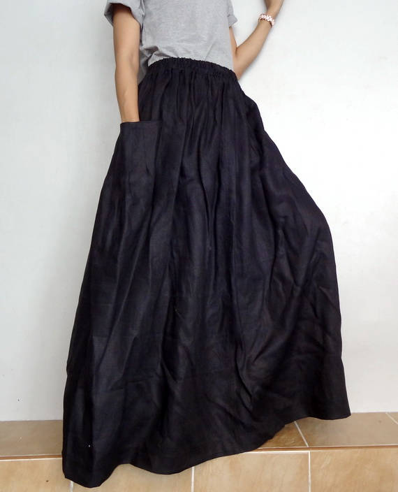 Black long linen skirt with pockets.Summer maxi linen skirt.