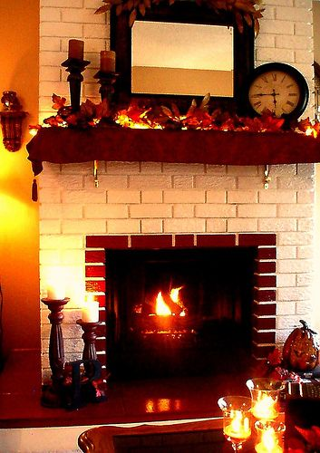 Fireplace Mantel Decor For Fall Display On Side Table Same