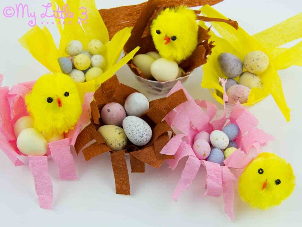 Make Mini Easter Baskets - Little Chick Nests - My Little 3 and Me
