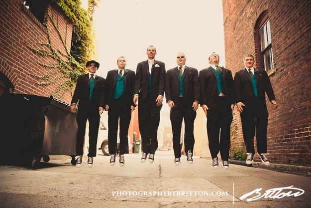 Jump for joy with your best friends. | 18 Glorious Ideas For Groomsmen Photos
