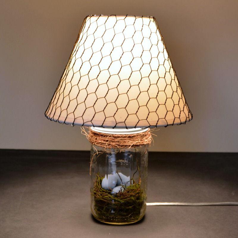 Bird Nest Mason Jar Lamp Rustic Spring Decor Mason Jar Diy Diy Lamp