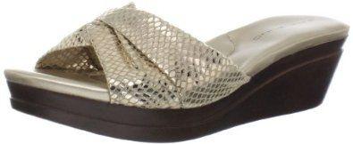"""Bandolino Women's Yeva FB Wedge Sandal Bandolino. $56.37. Fabric. Platform measures approximately 1"""" . Manmade sole. Heel measures approximately 2."""""""