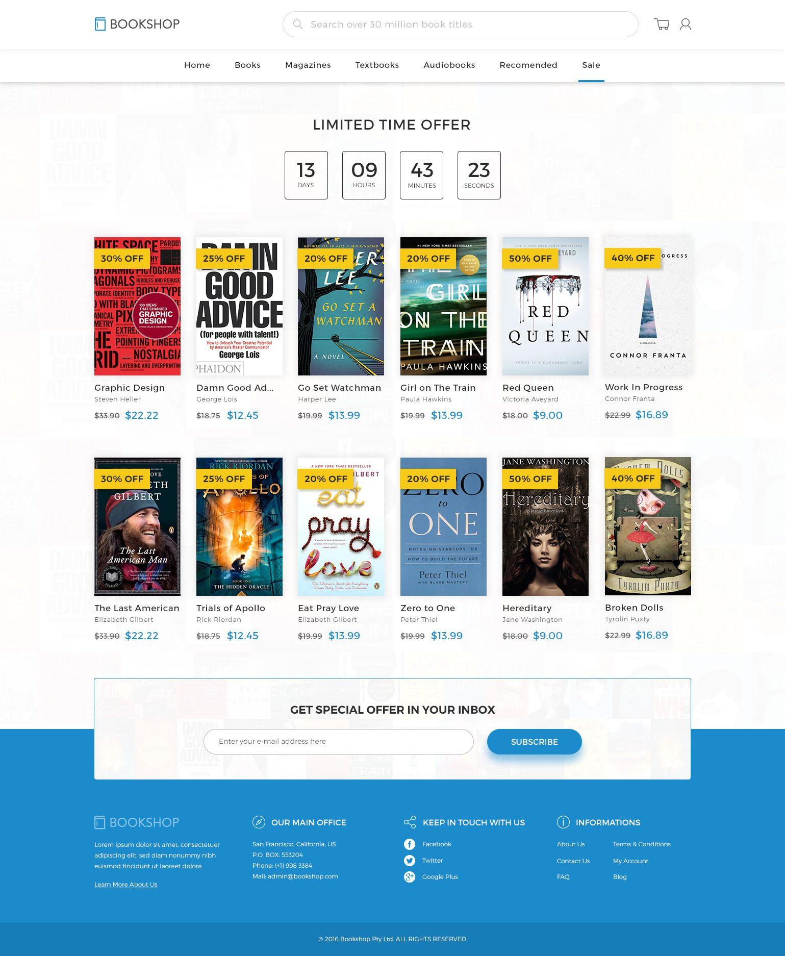 Bookshop Online Book Store Template Psd Book Online Bookshop Psd Bookstore Online Bookstore Bookstore Design