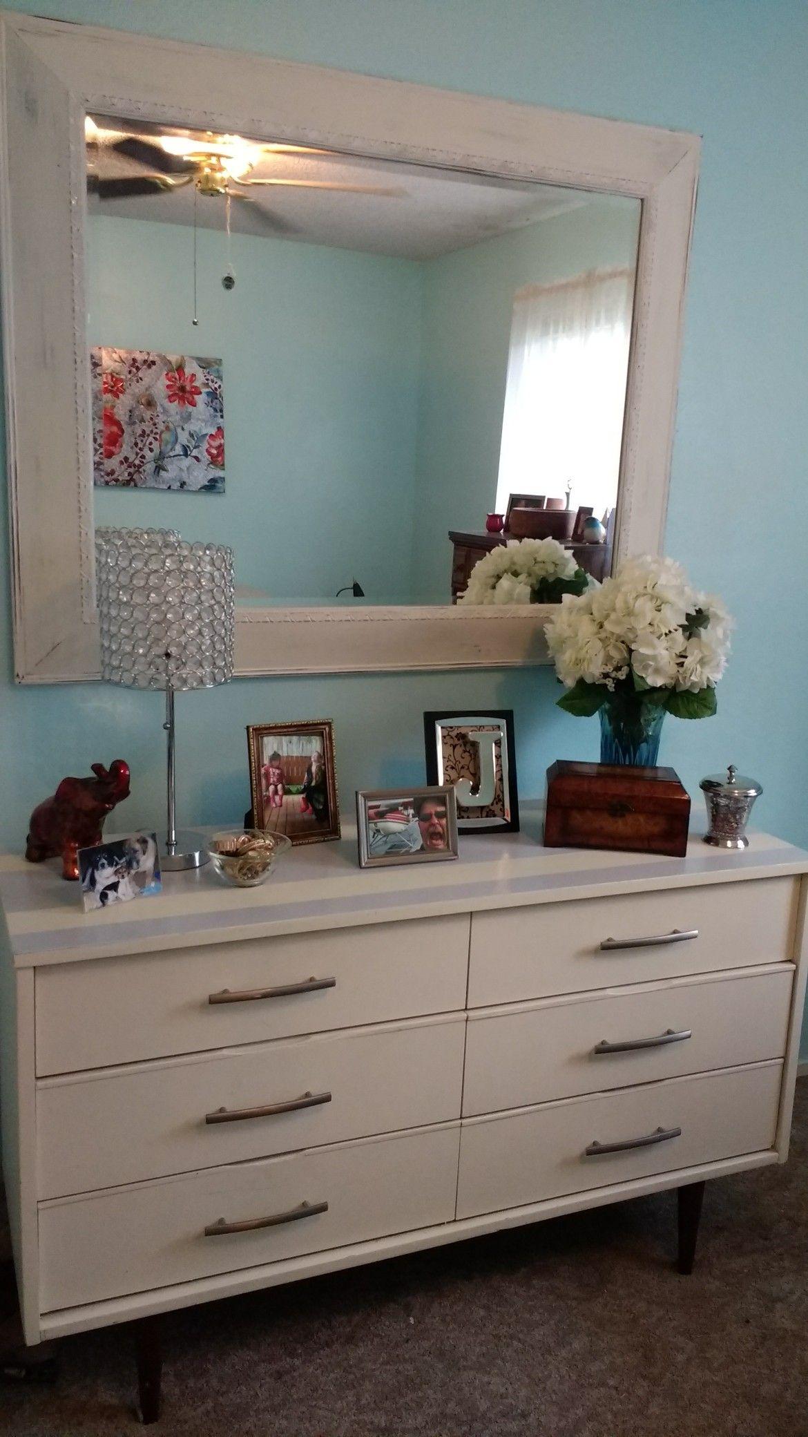 updated dresser/distressed mirror, brushed nickel drawer