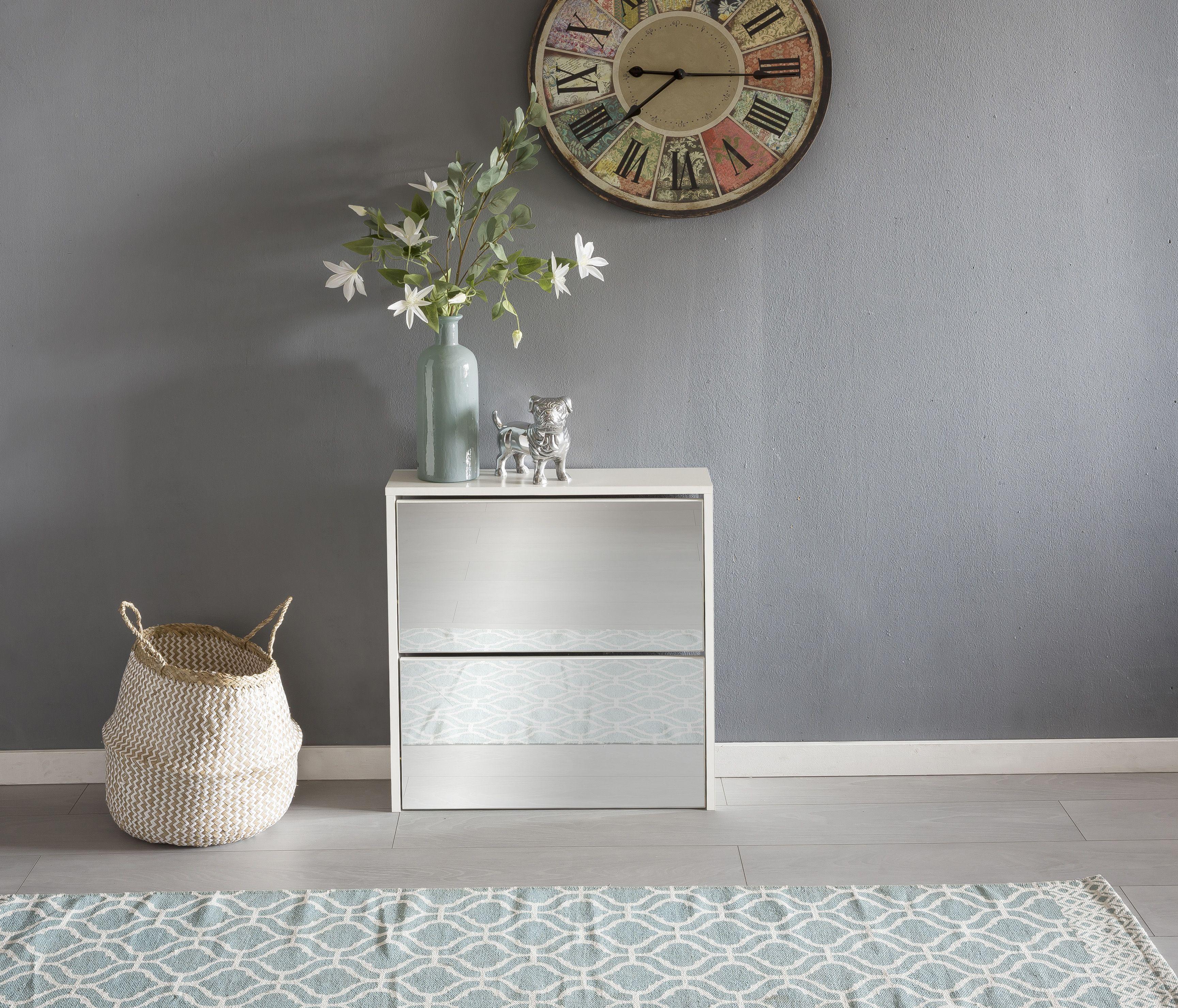 wohnling schuhkipper niklas wei mit 2 t ren aus spanplatte und verspiegeltem glas. Black Bedroom Furniture Sets. Home Design Ideas