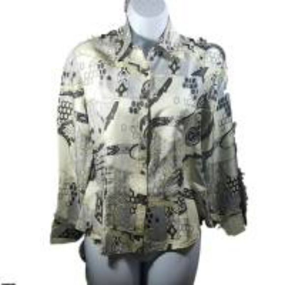 34c9529b7f576e Ann Taylor Beige Floral Scroll Silk Blouse Gorgeous beige, yellow, and  brown scroll floral
