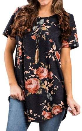 ZXZY Women Floral Print Short Sleeve Asymmetric He