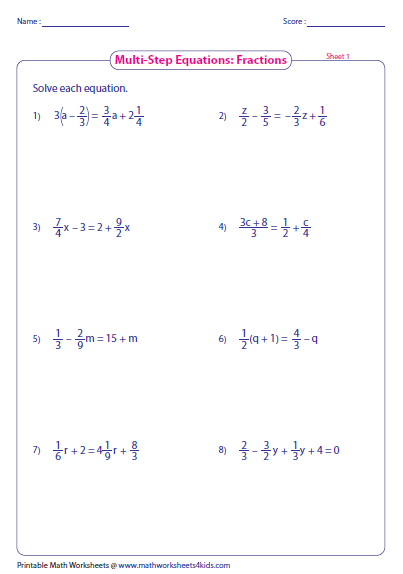 solve multi step equation - Solving Equations With Fractions Worksheet