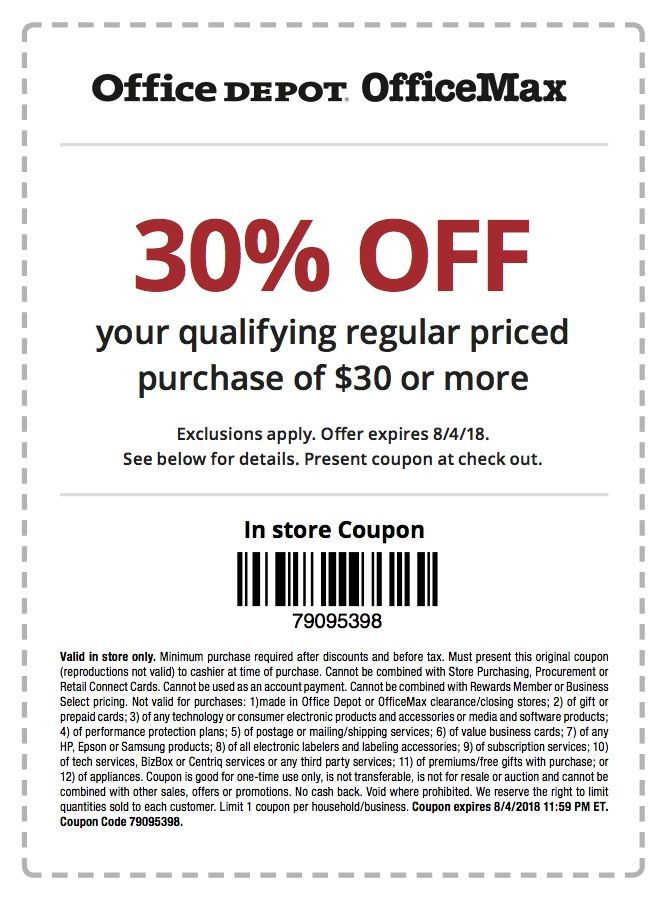 Office Depot OfficeMax 30 Off 30 InStore and Online