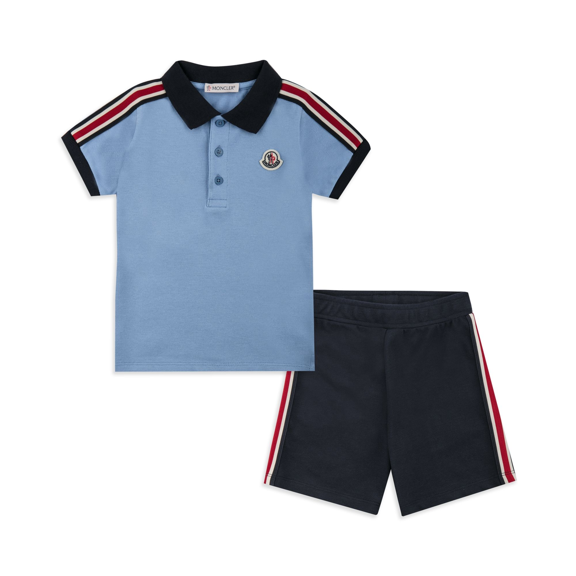 5776b9443 Baby Boys Striped Polo Outfit Set - Blue | base Moncler SS18 | Polo ...
