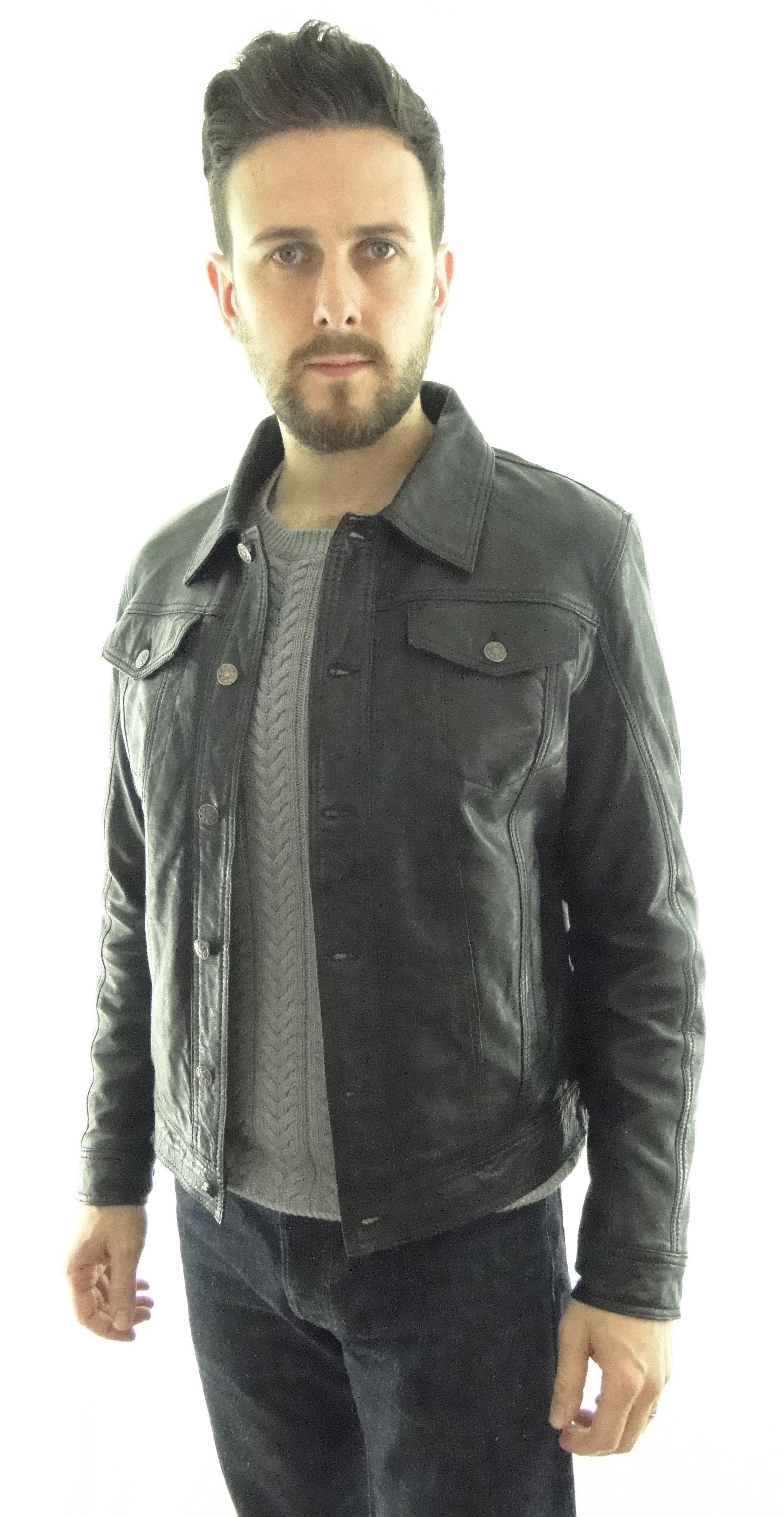 Men's Leather Denim Style Jacket in Black in 2020 Denim