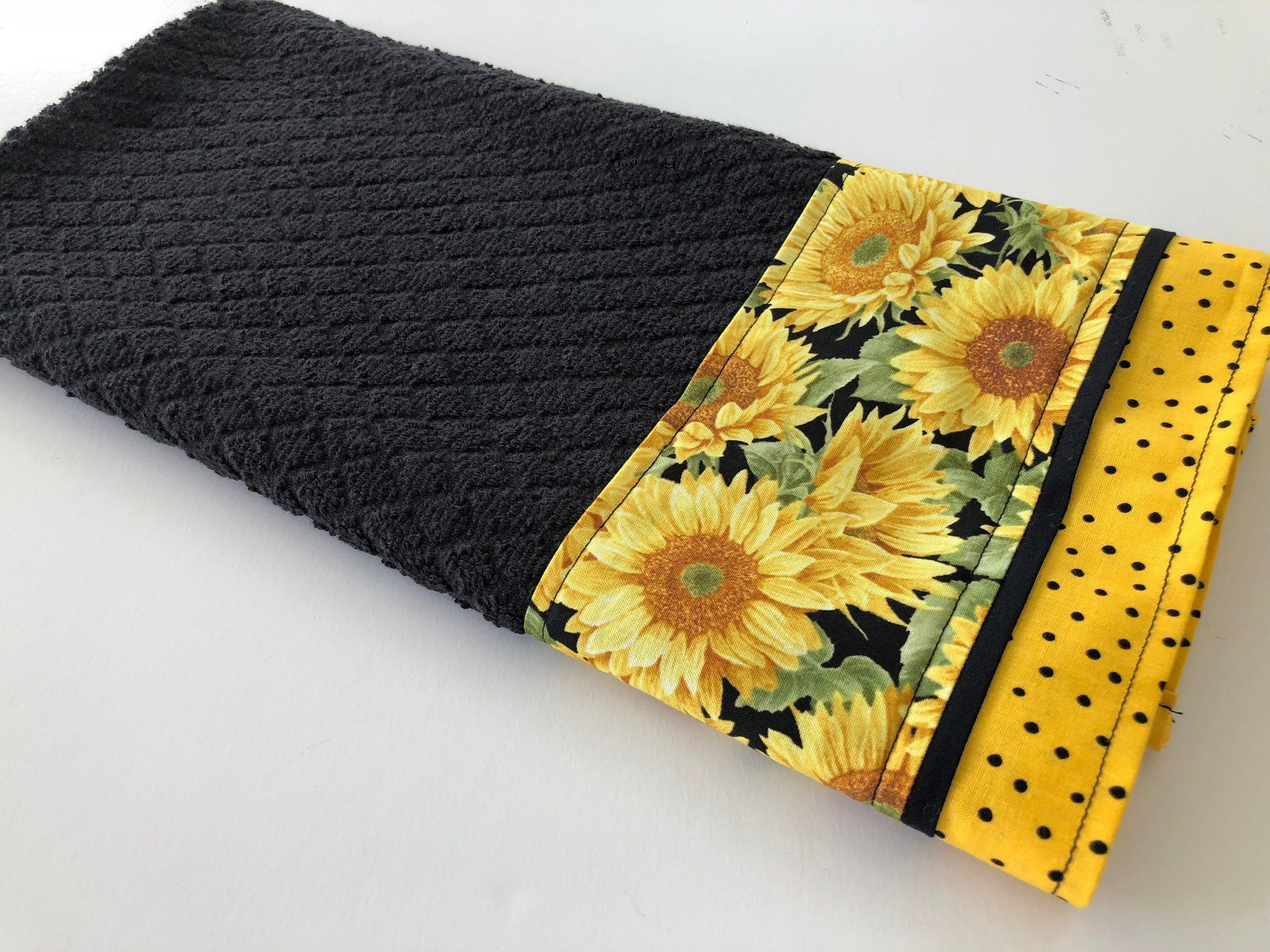 Sunflower Kitchen Dish Towel Black Yellow Kitchen Dish Towel Fabric Trimmed Hand Towel Tea Towel Sunflower Sunflower Kitchen Kitchen Dish Towel Hand Towels
