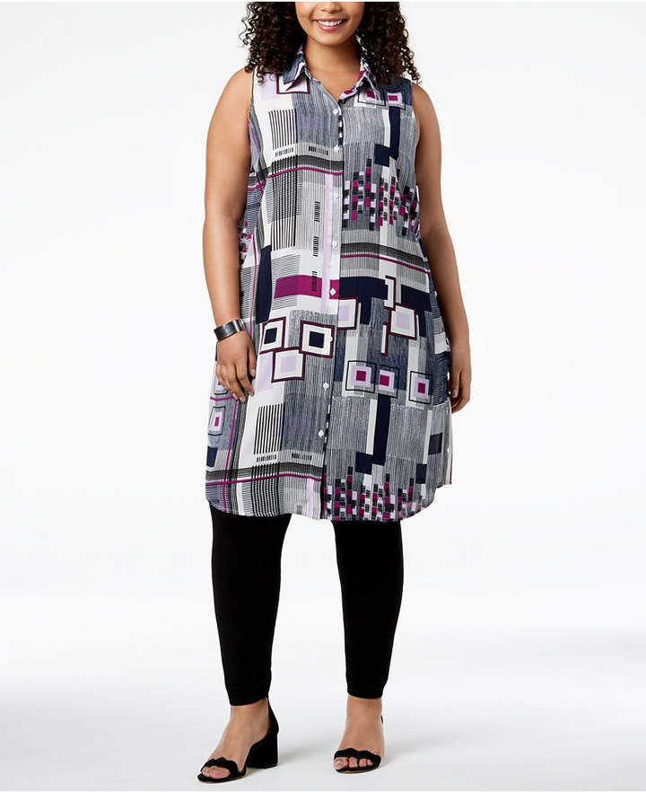 b304ebb67de Alfani Plus Size Printed Convertible Tunic Shirt