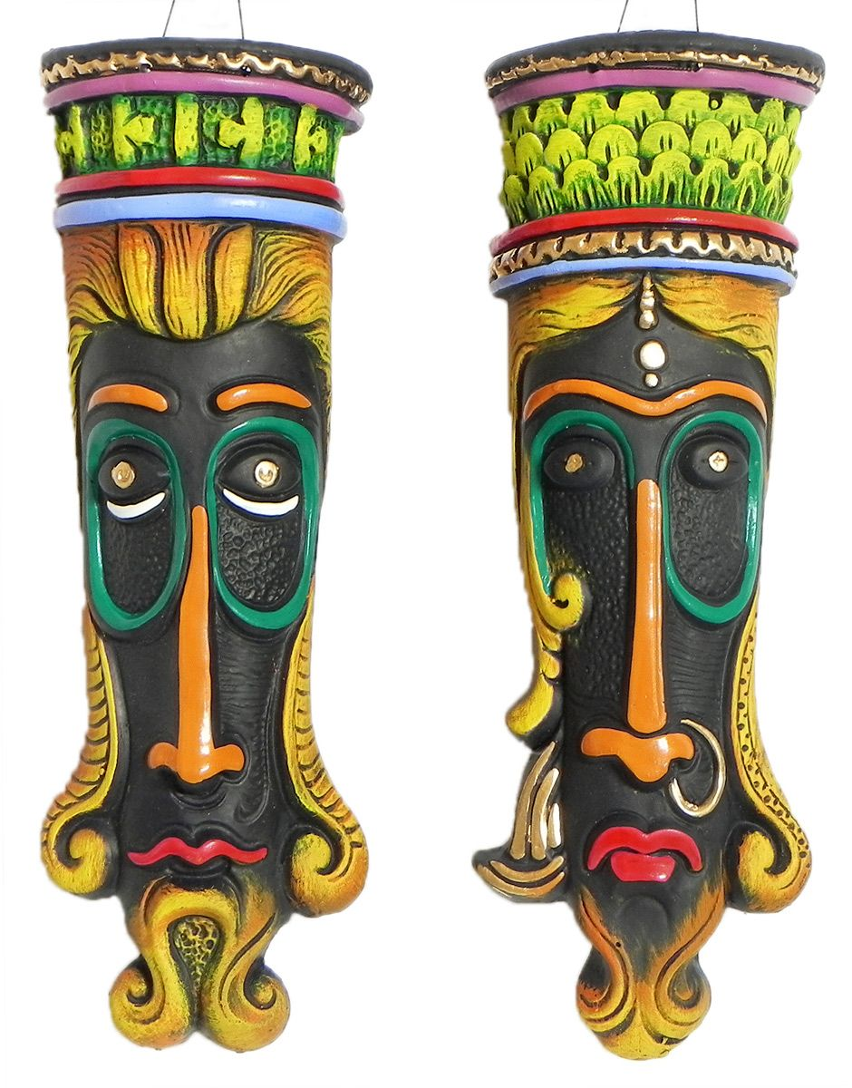 Buy Decorative Masks Online India Decorative Masks Of King And Queen  Wall Hanging  Terracotta