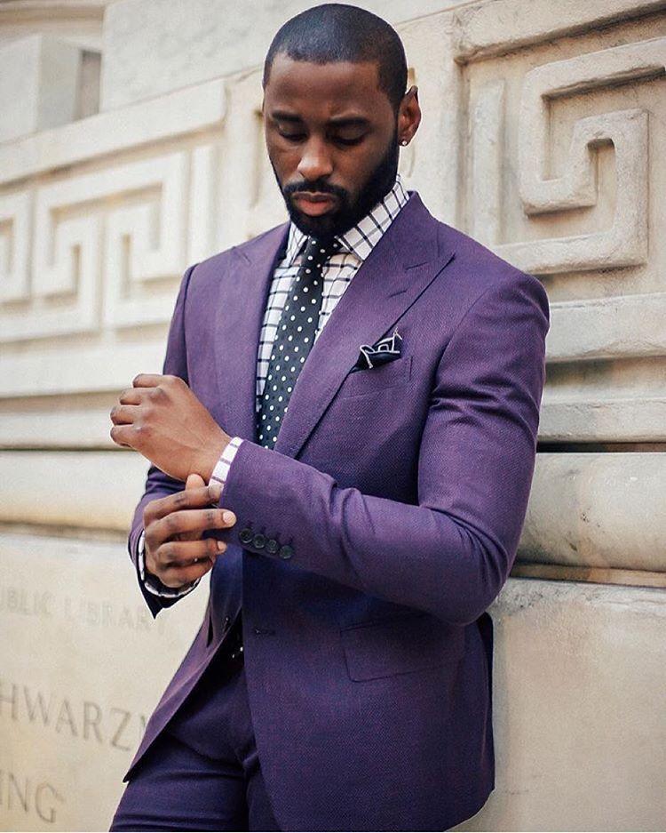 Men S Purple Suit With Window Pane Shirt And Polka Dot Tie