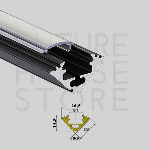 Anodized Aluminium Profile Led Strip Corner Channel Extrusion P3 Black 1m Uk 12v Extrusion Aluminum Extrusion Led Strip