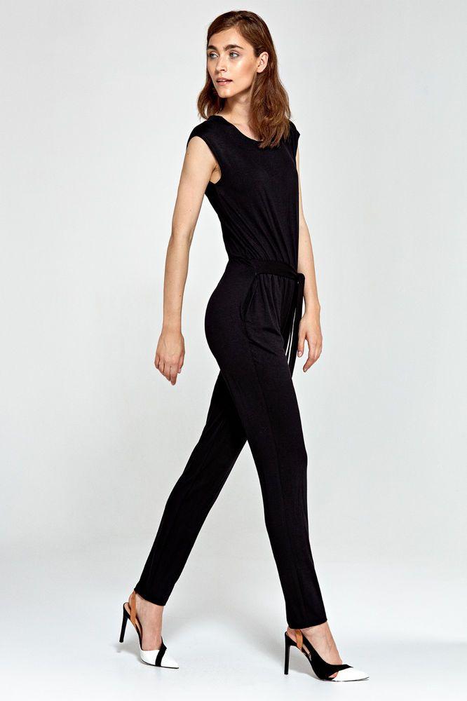 Combinaison noire pantalon habillée élégante femme sans manches ceinture  NIFE 9ae8aa84ff9c