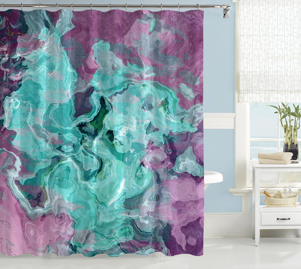 Contemporary Shower Curtain Abstract Art Bathroom Decor Turquoise Aqua Purple And Lavender