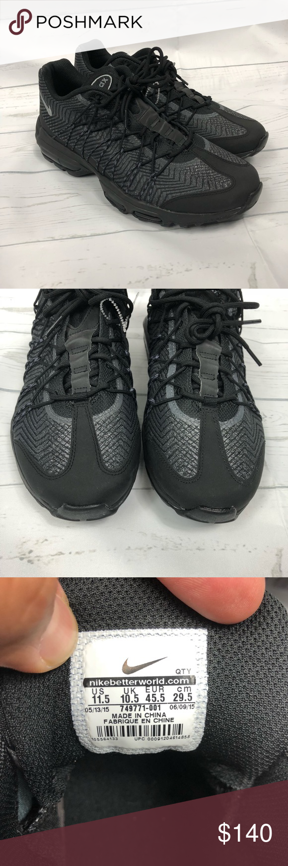 8ba587ca117c Mens Sz 11.5 Nike Air Max 95 Ultra JCRD 749771-001 NEW Mens Sz 11.5 Nike  Air Max 95 Ultra JCRD Black Silver Dark Grey 749771-001 No box New
