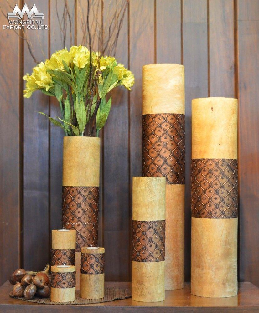 Florero mango de madera natural color dise o estuco for Jarrones de suelo modernos