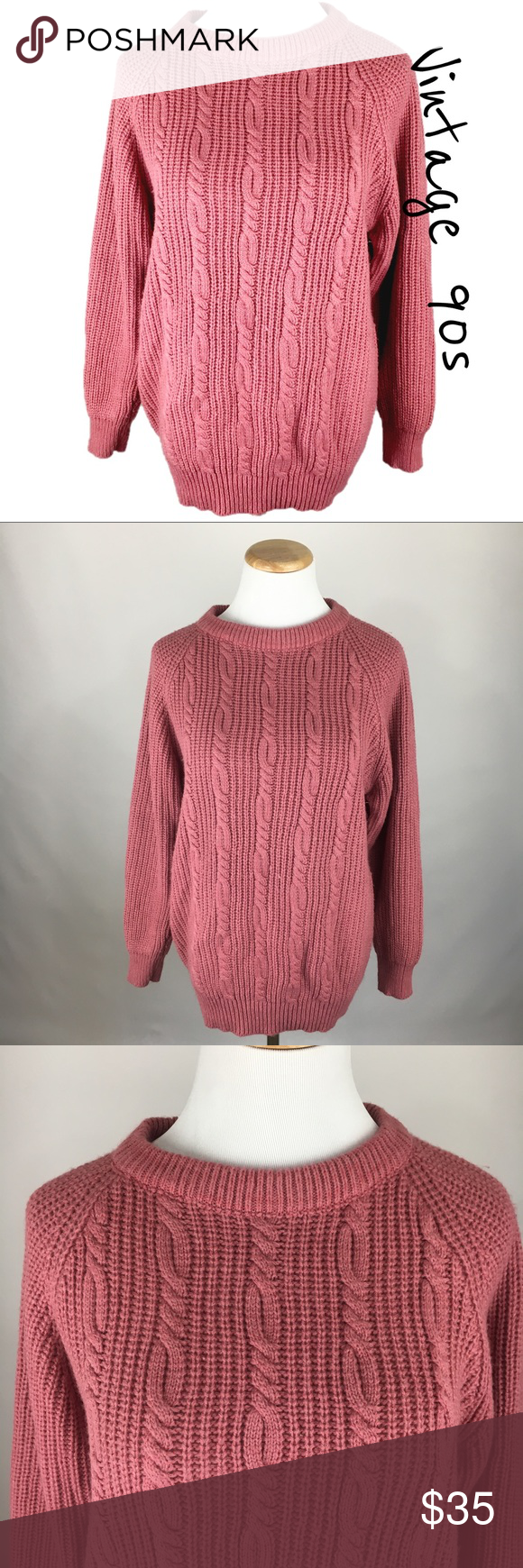 Vintage 90s Pink Oversized Knit Sweater Large | Cable knit ...