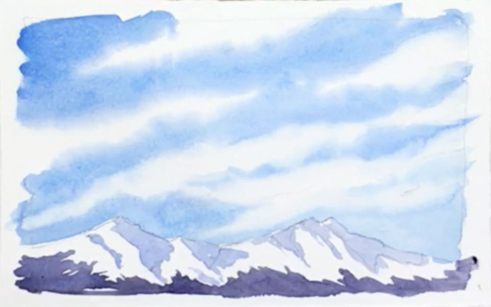 Paint wispy cirrus clouds & snowy mountains in this virtual watercolor class. These step-by-step instructions will help you improve your watercolor technique.