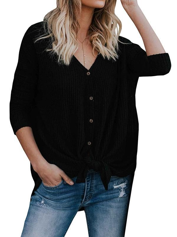 29d6859f41887a Chellysun fashion casual front tie knit blouse outfit classy long sleeve V  Neck button blouse for women #blouse #blousedesigns #top #shirts #casual ...