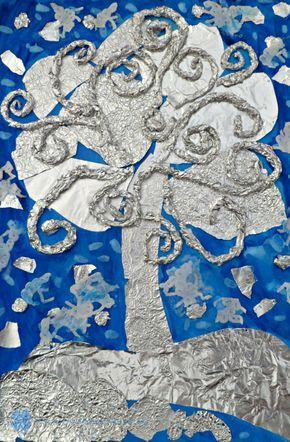 Praca Plastyczna Wyklejanka Z Folii Aluminiowej Zimowe Drzewo Holiday Art Projects Winter Art Lesson Kids Art Projects